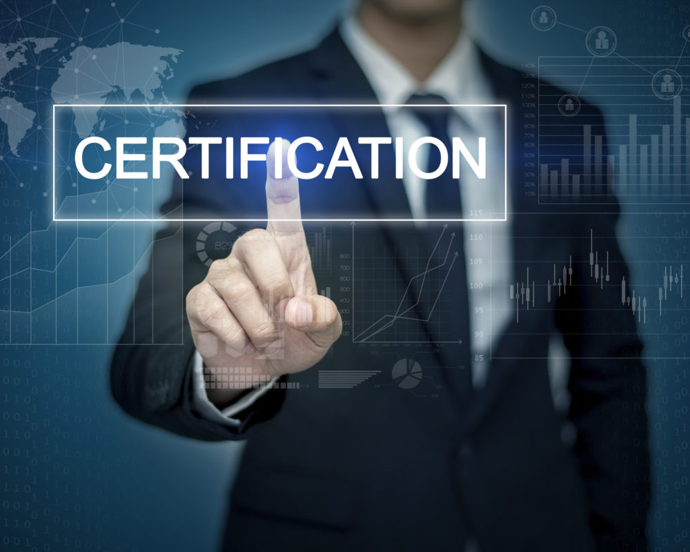 Businessman hand touching CERTIFICATION  button on virtual screen